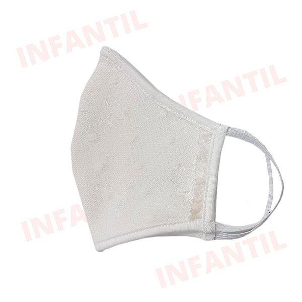 Máscara Anatômica de Tecido Infantil - Cor Creme com Renda Premium