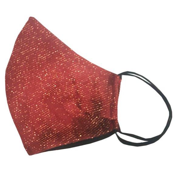 Máscara de Tecido Ninja Anatômica de Elástico - Vermelha com Brilhantes