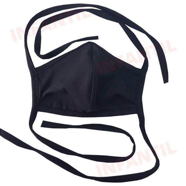 Máscara Anatômica de Tecido Infantil de Amarrar - Cor Preta