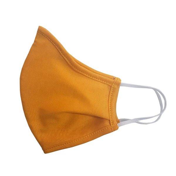 Máscara de Tecido Ninja com Elástico e Ajuste Nasal - Amarela (100% Algodão)