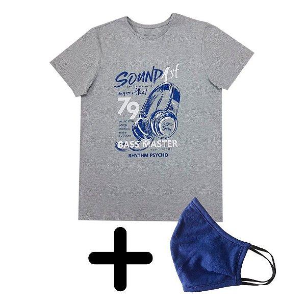 Camiseta Masculina Sound + Máscara de Elástico Premium