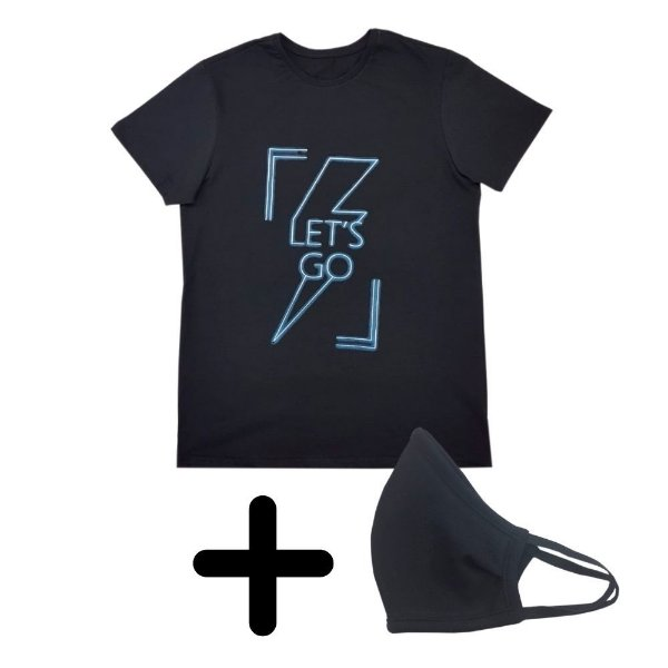Camiseta Masculina Let's GO + Máscara de Elástico Premium