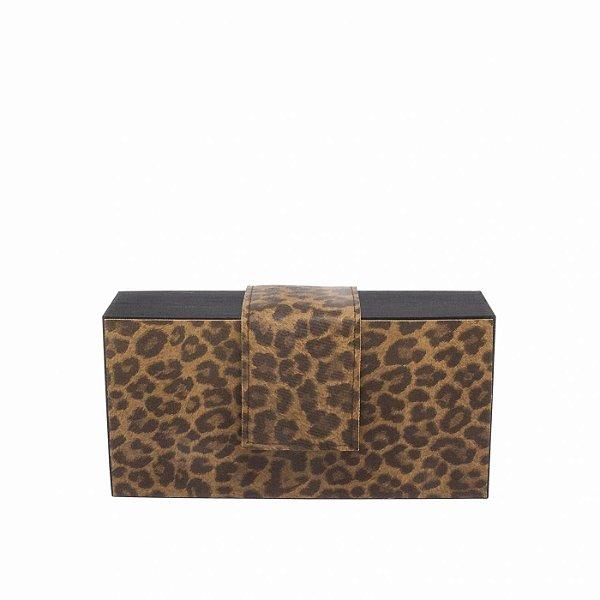 Bolsa Clutch Feminina Pequena Animal Print Onça