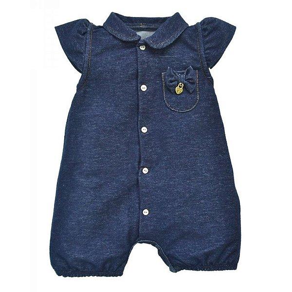 Macacão curto  bebê menina em Cotton Jeans
