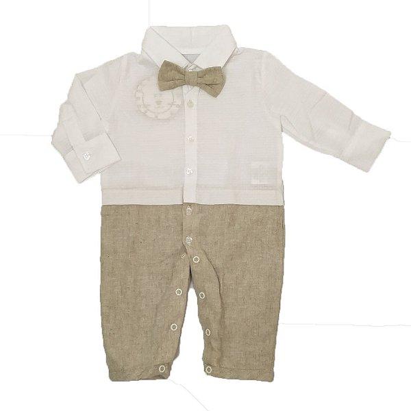 Macacão Bebê em linho com gravata