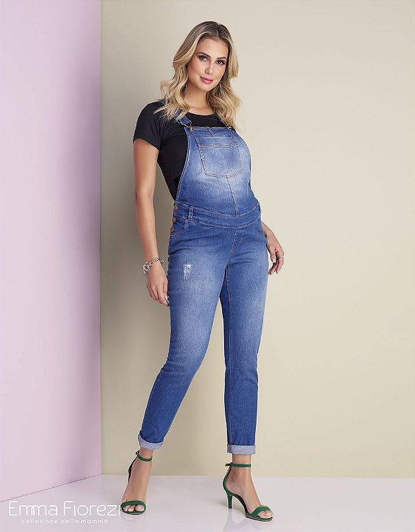Jardineira Gestante Jeans com ajuste