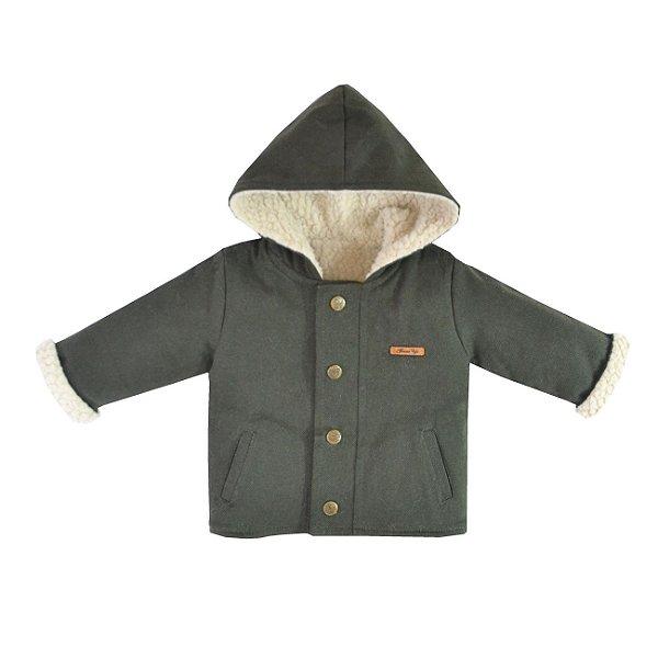Jaqueta de Sarja Forrada com Capuz