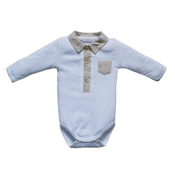 Body Bebê Gola Polo detalhes em Linho