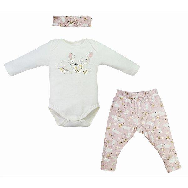 Conjunto Calça e Body bebê Rabbit com faixa