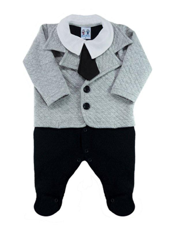 Macacão bebê inverno com gravata