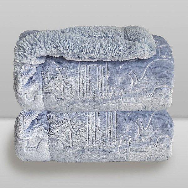 Cobertor Bebê Duplo Microfibra com Pelúcia Azul
