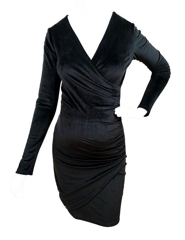 Vestido Gestante e Amamentação de Veludo Kylie