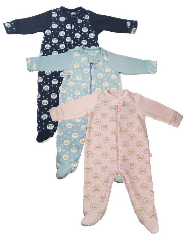 Macacão Pijama Bebê Ziper Ovelhinhas