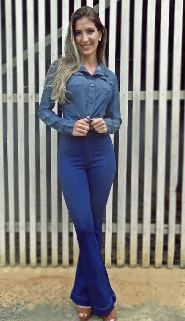 Calça Jeans Flare Alta Blue