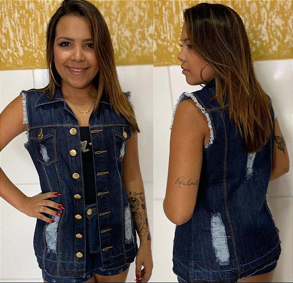 Colete Jeans Maxi