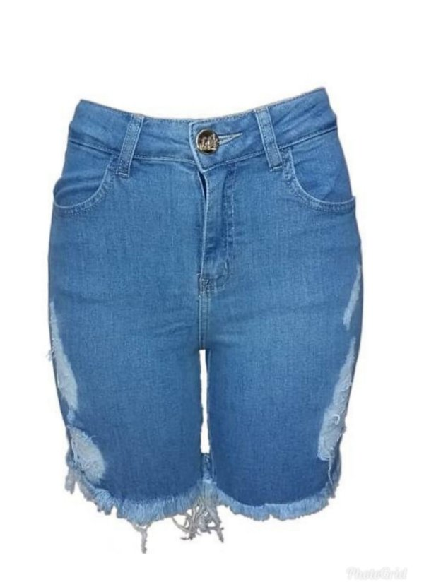 Short Jeans Meia Coxa Destroyed