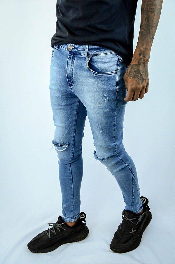 Calça jeans recort perna