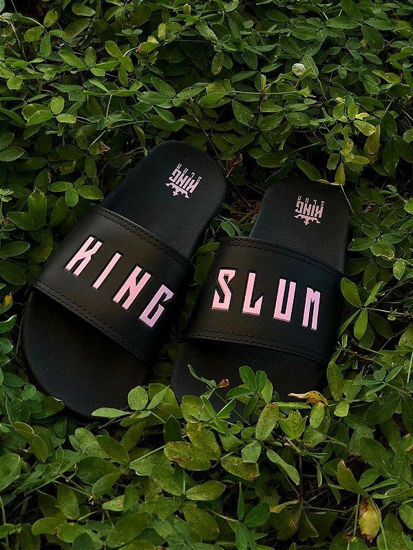 Chinelo slide com rosa