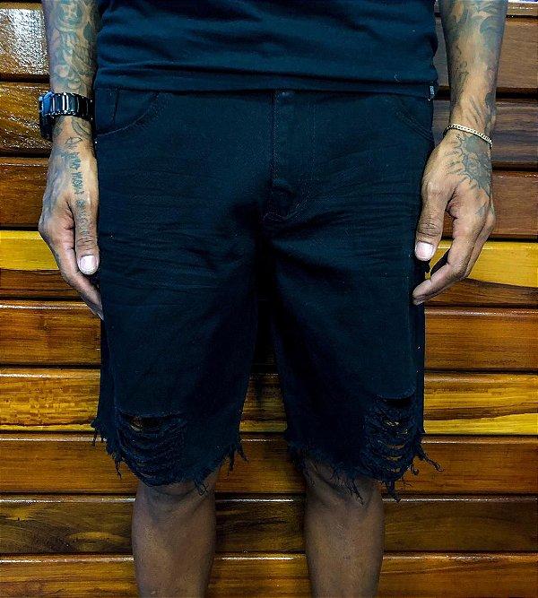Bermuda curta Preta com rasgo