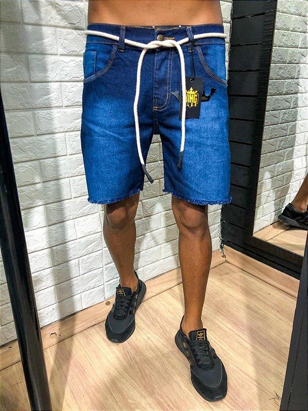 Bermuda curta jeans elastano