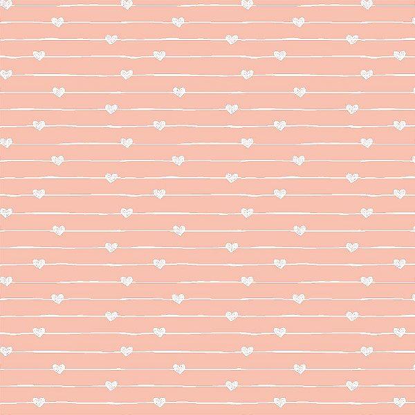 Tecido Varal de Corações Rosa 14014 50x150
