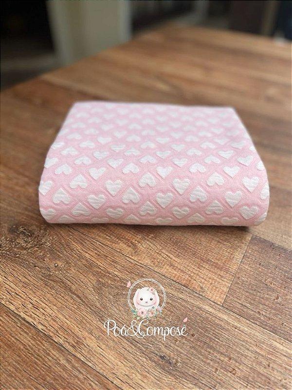 Malha Matelassê Coração cor Rosa Claro  (Corte 80x80)