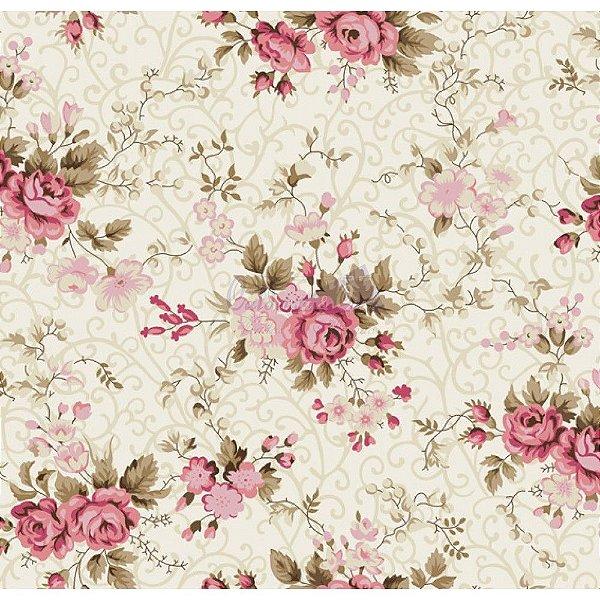 Tecido Floral Fernanda Creme com Rosê (Cor 02)