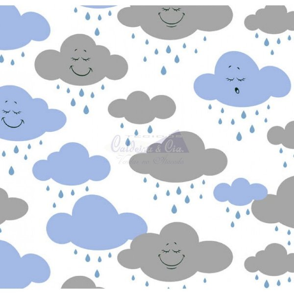 Tecido Nuvem Cloud Azul com Cinza (Cor 01)