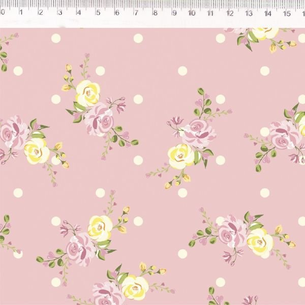 Coração de Pano Floral Maior Rosa CP002C02