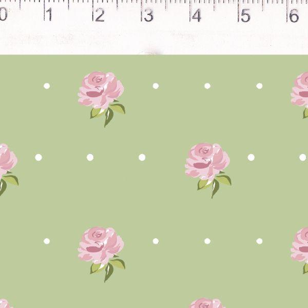 Coração de Pano Floral Menor Verde CP003C04