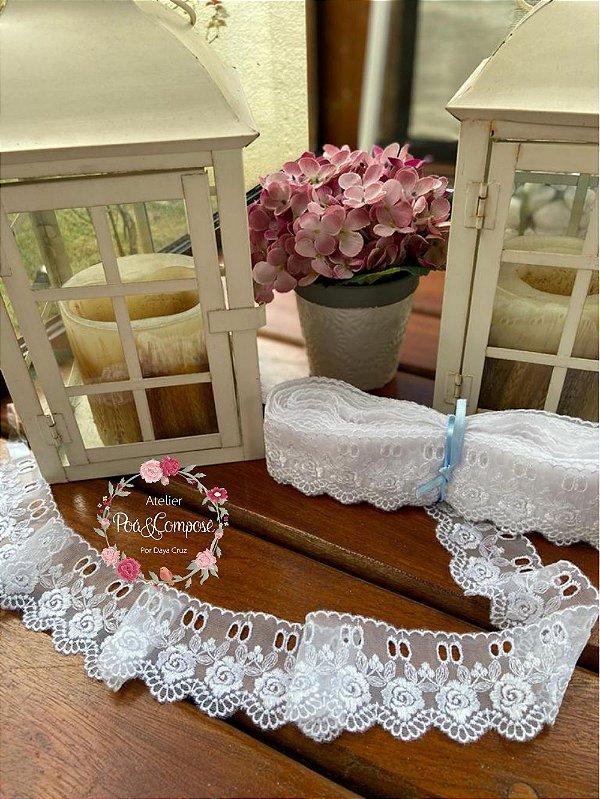Passa-fitas Rosas Largo Branco LG225