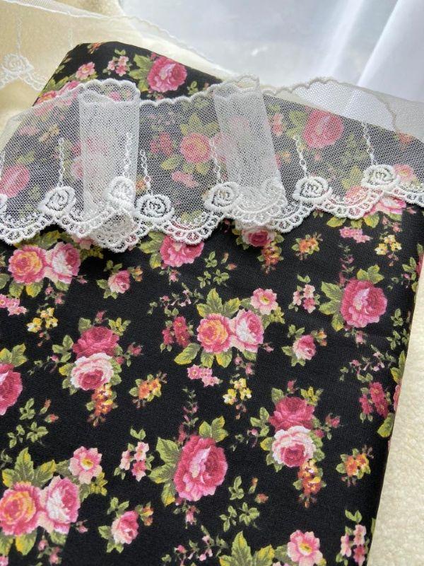 Tecido Floral Fundo Preto 29009
