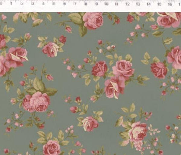 Tecido Floral Medio La Vie en Rose Cinza (MV003C03)