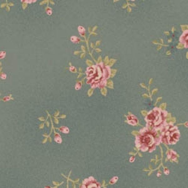 Tecido Floral Pequeno La Vie en Rose Cinza (MV004C03)