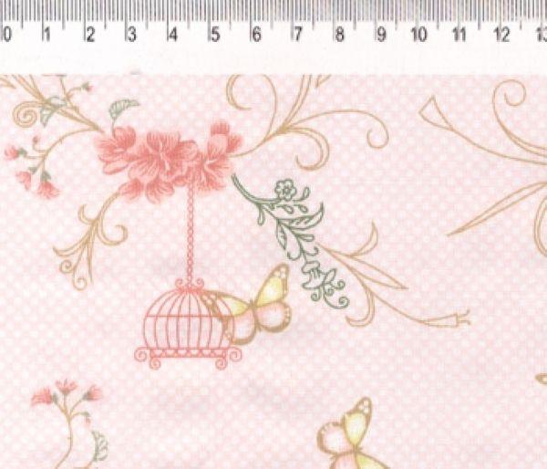 Tecido Infantário Gaiolas Salmão VG013C03