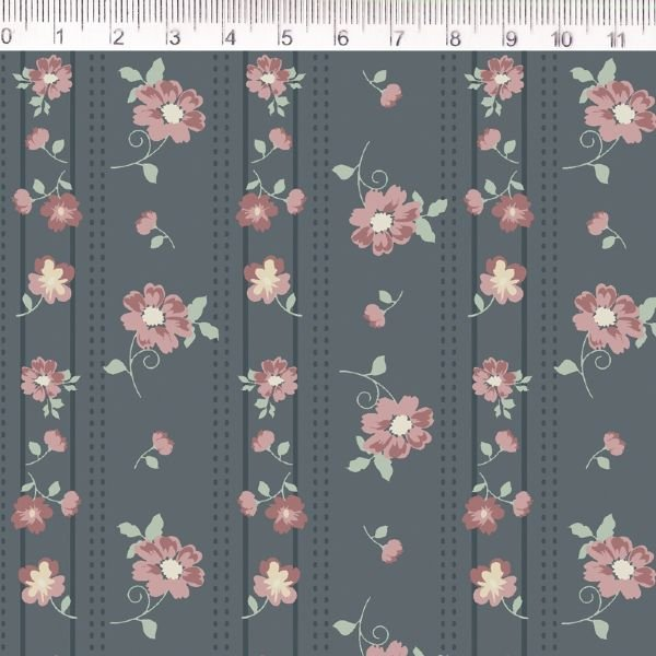 Tecido Listras e Flores Azul MV026C01