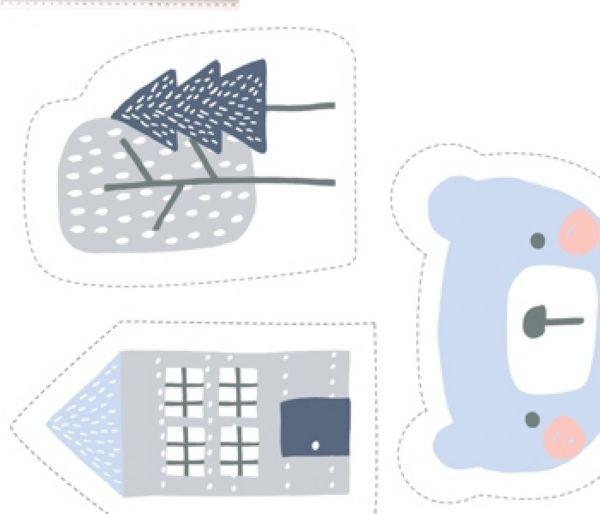 Tecido Painel Urso azul ES026C01