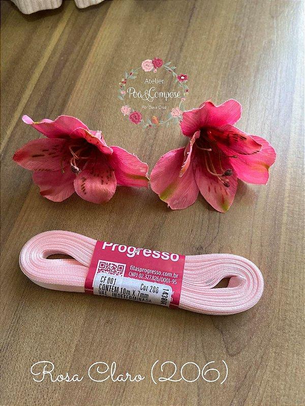Fita de Cetim 7 mm Rosa Claro (206)