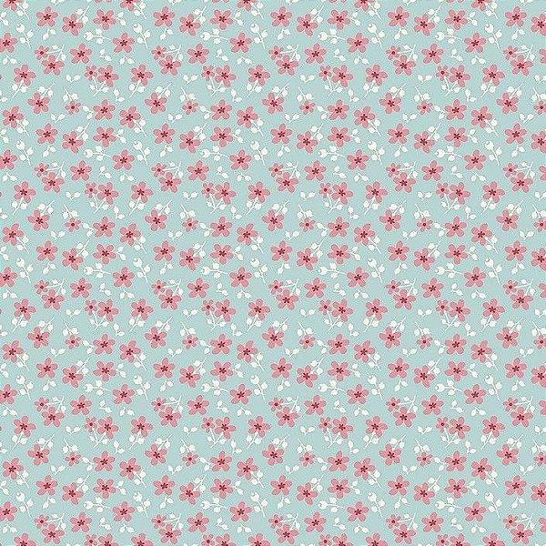 Tecido Micro Floral Garden Azul RT325