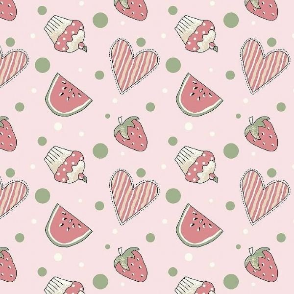 Tecido Mini Morangos e Cupcakes Rosa RT340