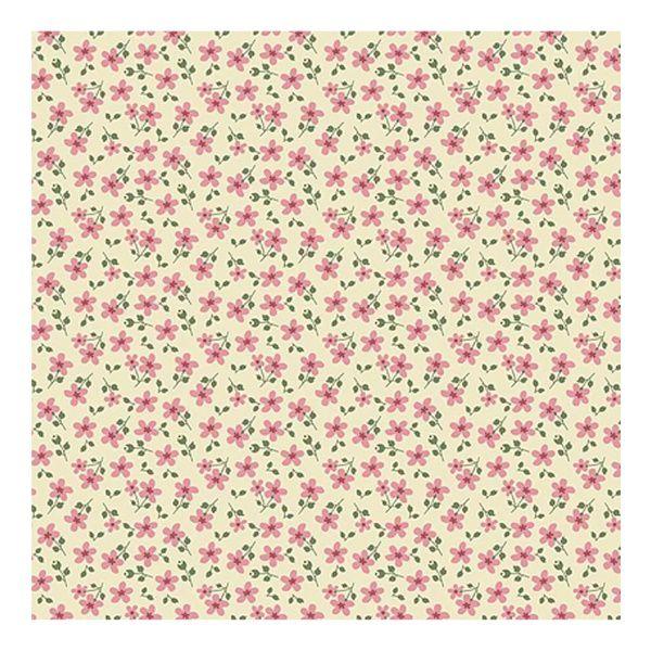 Tecido Micro Floral Garden Creme RT326