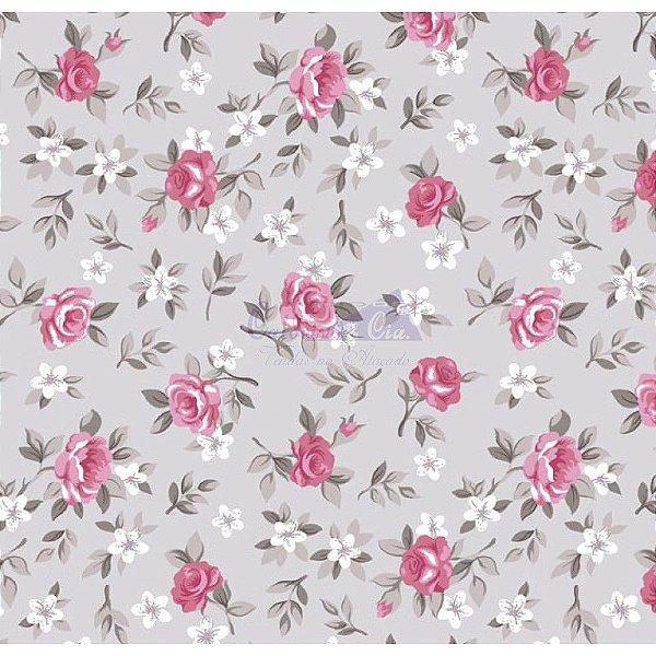 Tecido Floral Lúcia Cinza com Rosa (Cor 15)