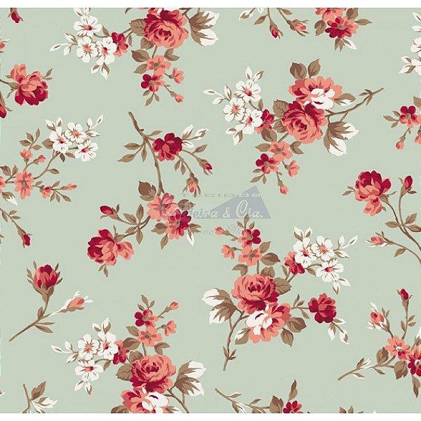Tecido Floral Eliza Verde (Cor 07)