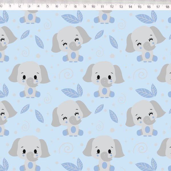Tecido Delicata Elefante azul 30679C02