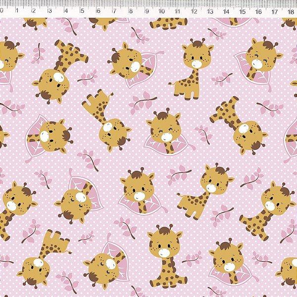 Tecido Delicata Girafa Rosa 30678C02