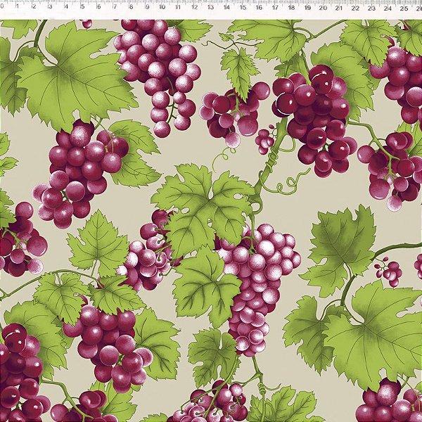 Uvas e Folhas fundo bege - 29045C02
