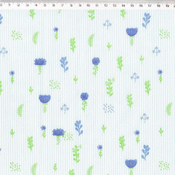 Coleção Botânica Floral Azul com Listras - ES017C01