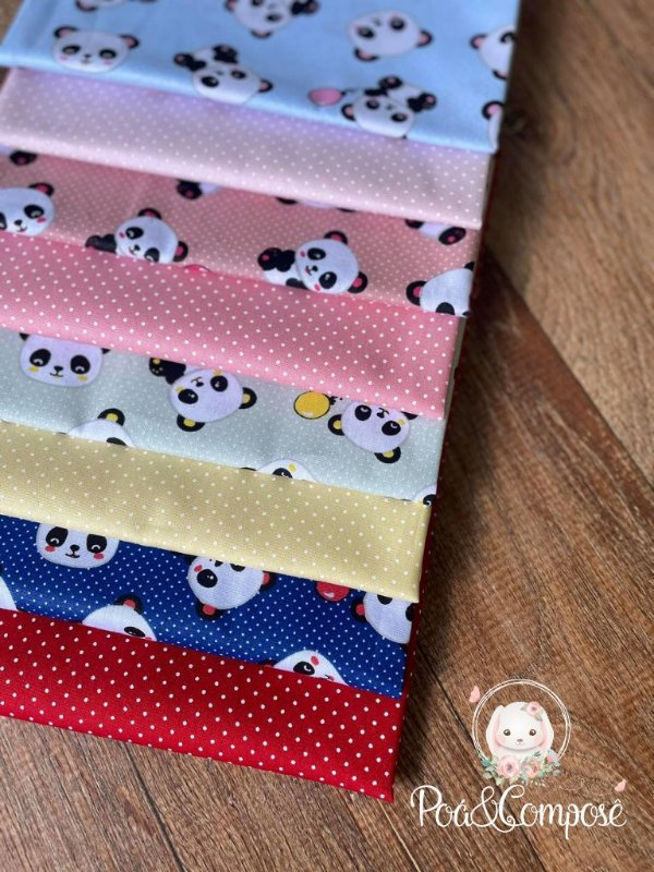 Kit Panda Composê Poá 50x75