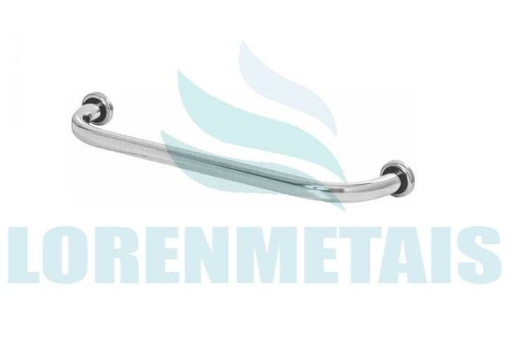 Barra Apoio Reta 60 cm em alumínio para banheiro com canopla de inox PNE - 24005