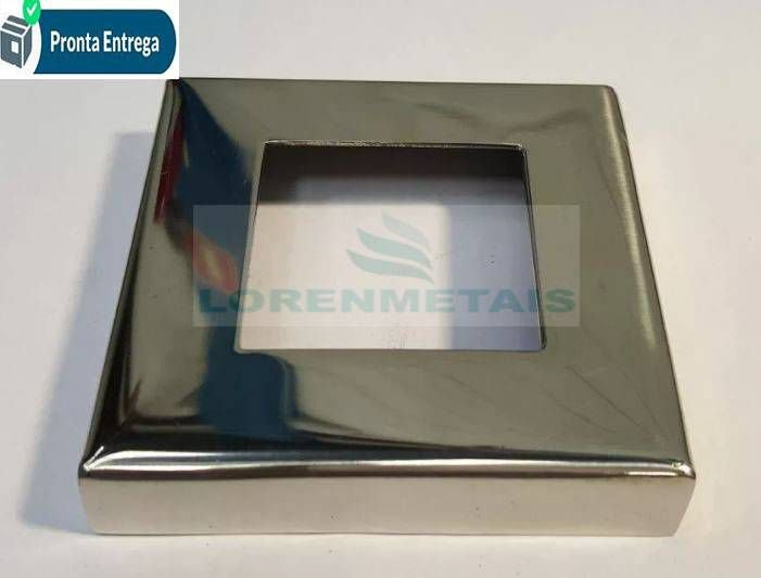 Canopla quadrada inox sem solda  304 31x31 - 7001